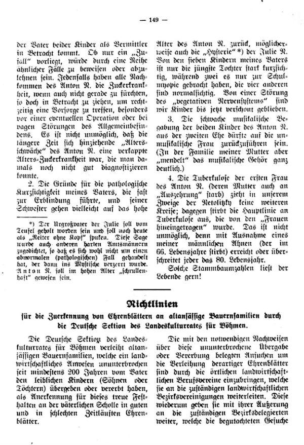 Richtlinien für die Zuerkennung von Ehrenblättern an alteingessesene Bauernfamilien durch die Deutsche Sektion des Landeskulturamtes in Böhmen - 1