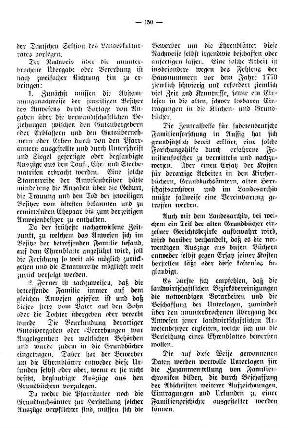 Richtlinien für die Zuerkennung von Ehrenblättern an alteingessesene Bauernfamilien durch die Deutsche Sektion des Landeskulturamtes in Böhmen - 2