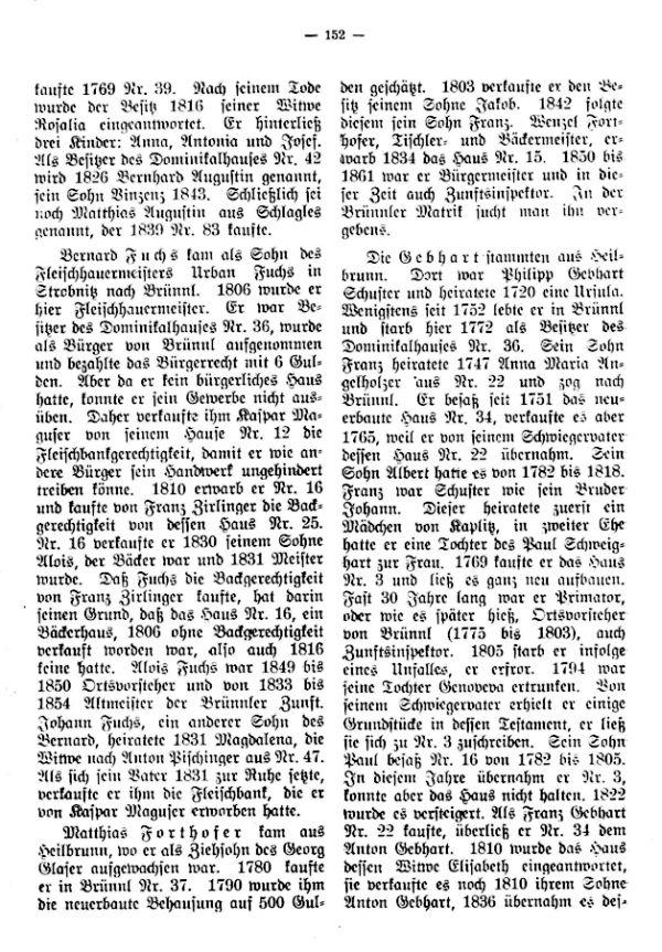 Charakteristische Namen im Markte Brünnl bei Kaplitz in Südböhmen vom 1718-1850 - 2