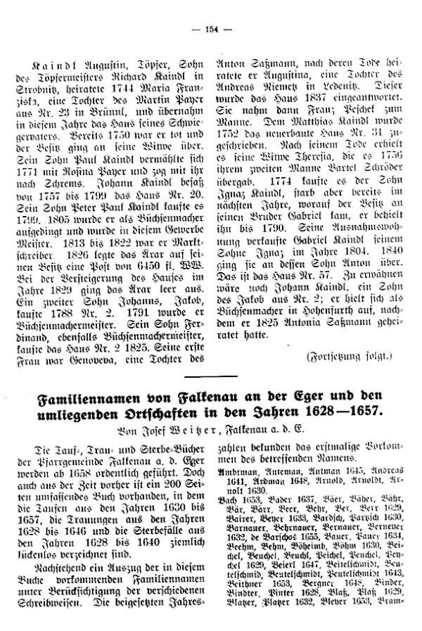 Familiennamen von Falkenau an der Eger und den umliegenden Ortschaften in den Jahren 1628-1657 - 1