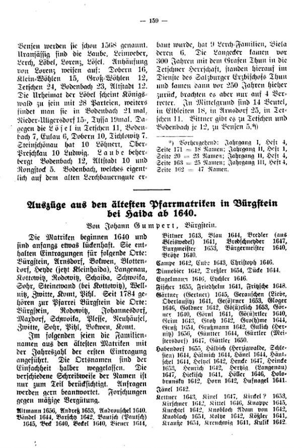 Auszüge aus den ältesten Pfarrmatriken in Bürgstein bei Haida ab 1640 - 1