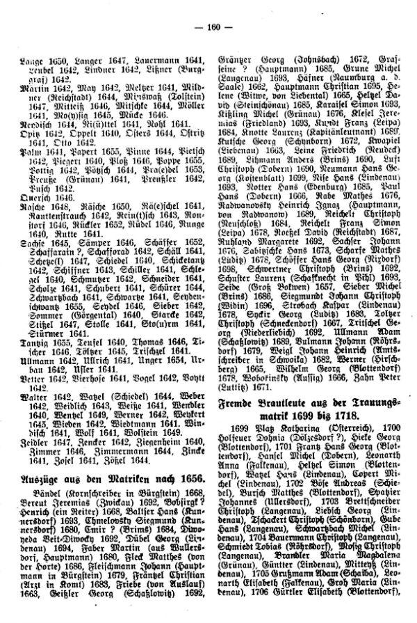 Auszüge aus den ältesten Pfarrmatriken in Bürgstein bei Haida ab 1640 - 2