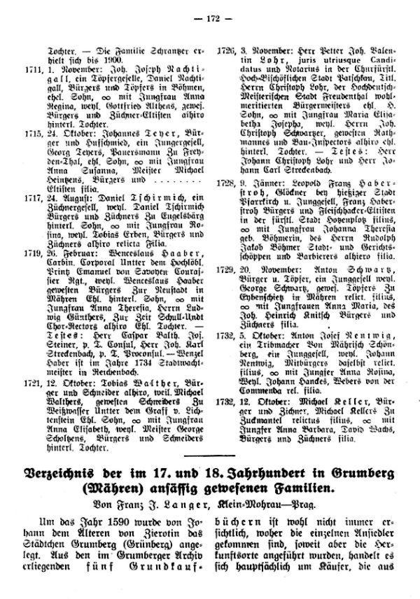 Verzeichnis der im 17. und 18. Jahrhundert in Grumberg (Mähren) ansässig gewesenen Familien - 1
