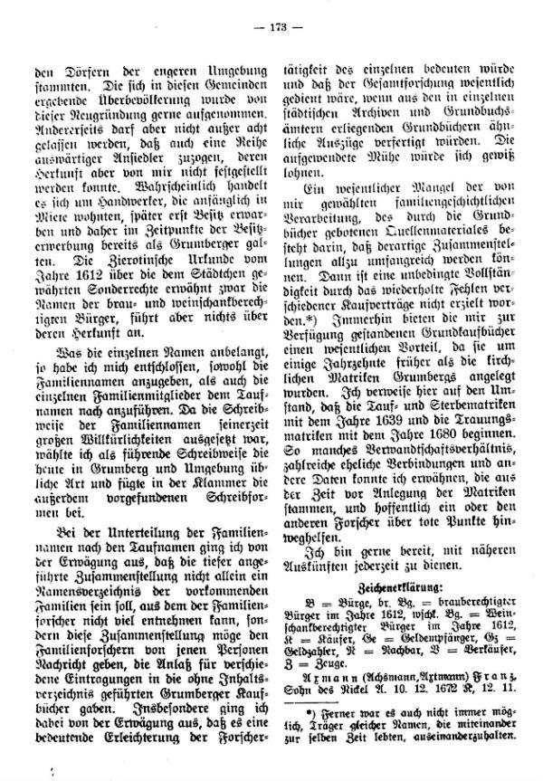 Verzeichnis der im 17. und 18. Jahrhundert in Grumberg (Mähren) ansässig gewesenen Familien - 2