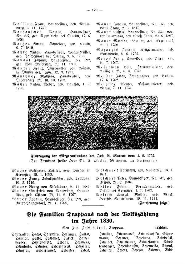 Die Familien Troppaus nach der Volkszählung im Jahre 1830
