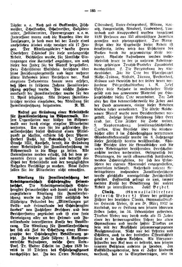 Gymnasialdirektor Heinrich Weber, Olmütz +