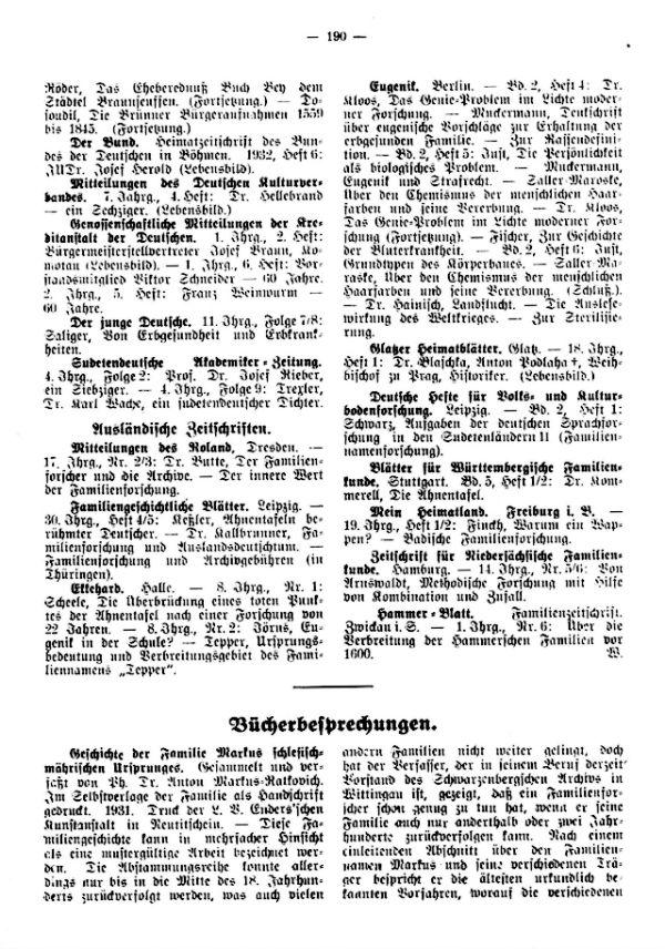 Geschichte der Familie Markus Schlesisch-Mährischen Ursprungs