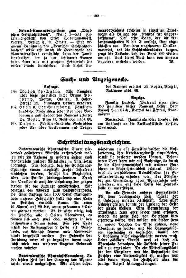 Gesamtnamensverzeichnis zum 'Deutschen Geschlechterbuch' - Such- und Anzeigenecke