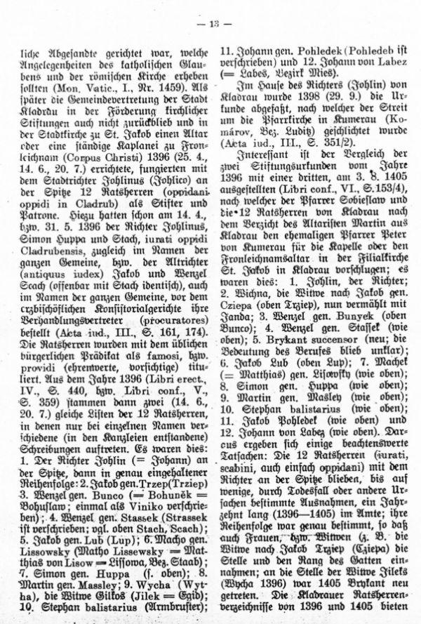 Die ältesten Bürger- und Rathherrennamen der Stadt Kladrau - 3