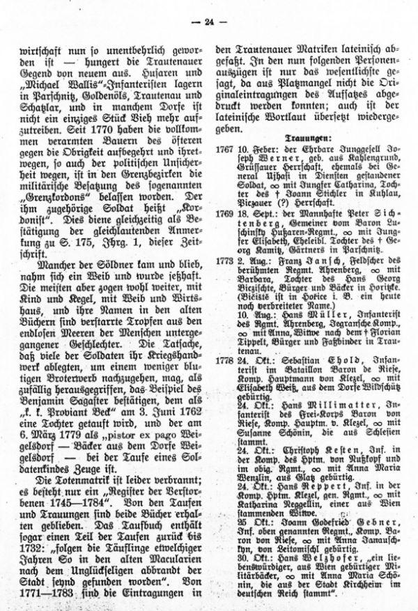 Soldaten in den ältesten Trautenauer Matrik 1745-1784 - 2