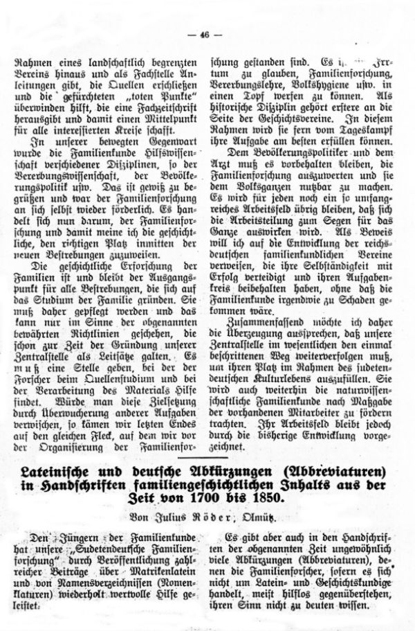 Lateinische und deutsche Abkürzungen (Abbreviaturen) in Handschriften familiengeschichtlichen Inhalts aus der Zeit von 1700 bis 1850 - 1
