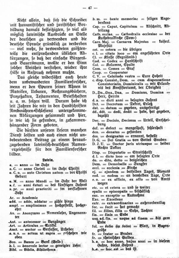 Lateinische und deutsche Abkürzungen (Abbreviaturen) in Handschriften familiengeschichtlichen Inhalts aus der Zeit von 1700 bis 1850 - 2