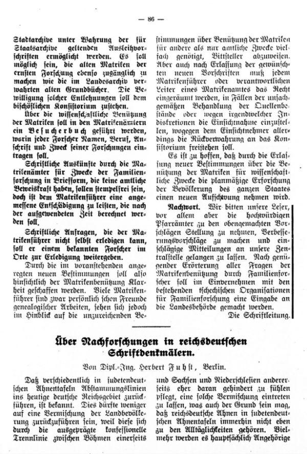 Über Nachforschungen in reichsdeutschen Schriftdenkmälern - 1