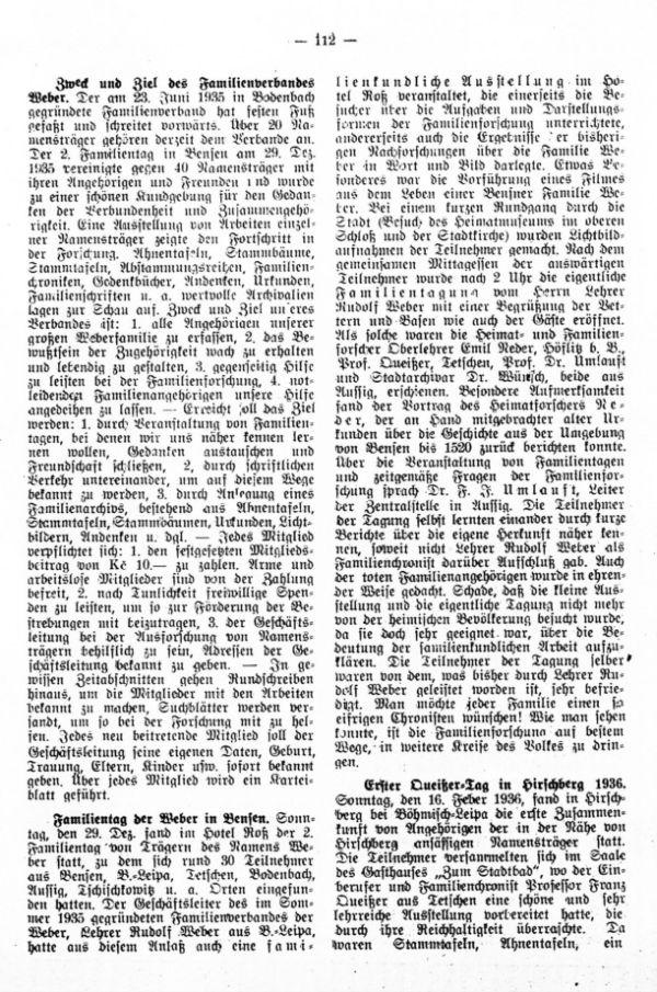 Familientag der Weber in Bensen - Erster Queißertag in Hirschberg 1936