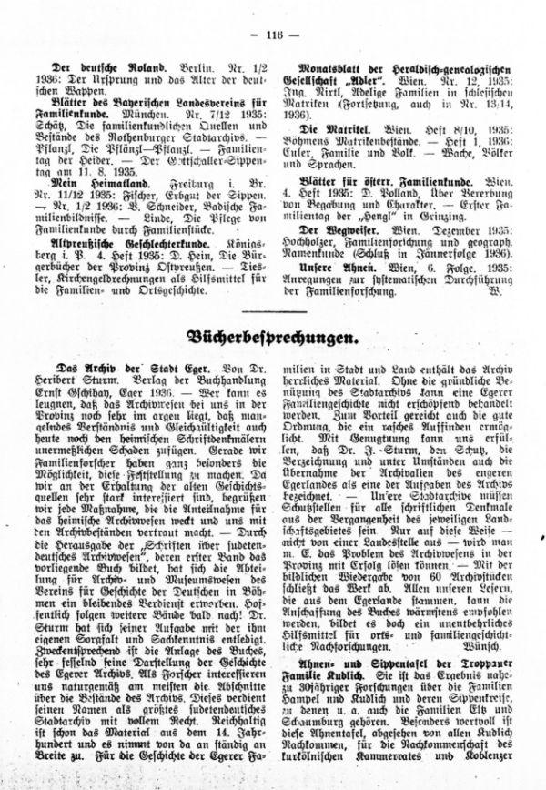 Bücherbesprechungen - Familienblatt der Zippefamilien. Das Archiv der Stadt Eger - Ahnen- und Sippentafel der Troppauer Familie Kudlich