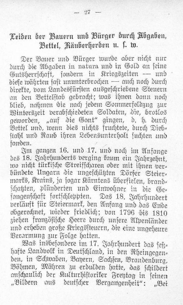 Leiden der Bauern und Bürger durch Abgaben, Bettel, Räuberherden u.s.w.