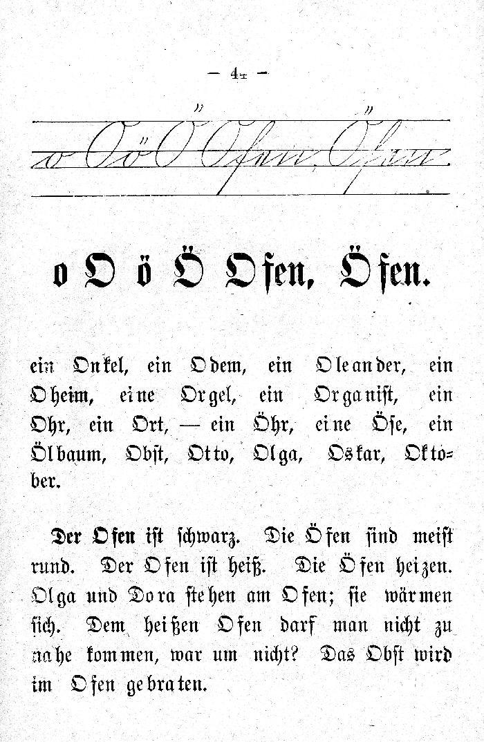 Deutsche Fibel -O - Ö (Schreibschrift /Druckschrift)