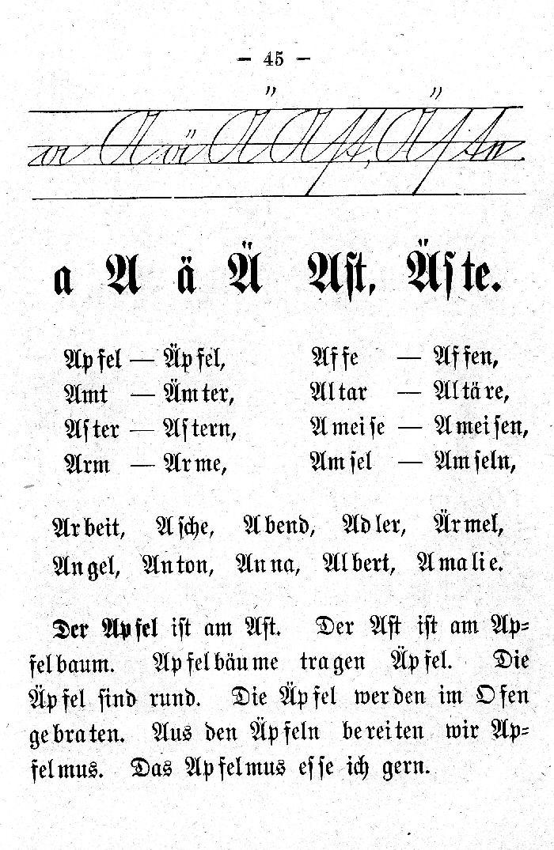 Deutsche Fibel -A - Ä (Schreibschrift /Druckschrift)