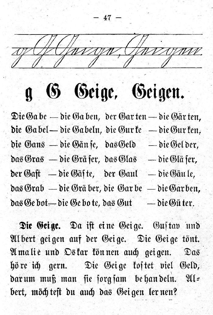 Deutsche Fibel -G (Schreibschrift /Druckschrift)