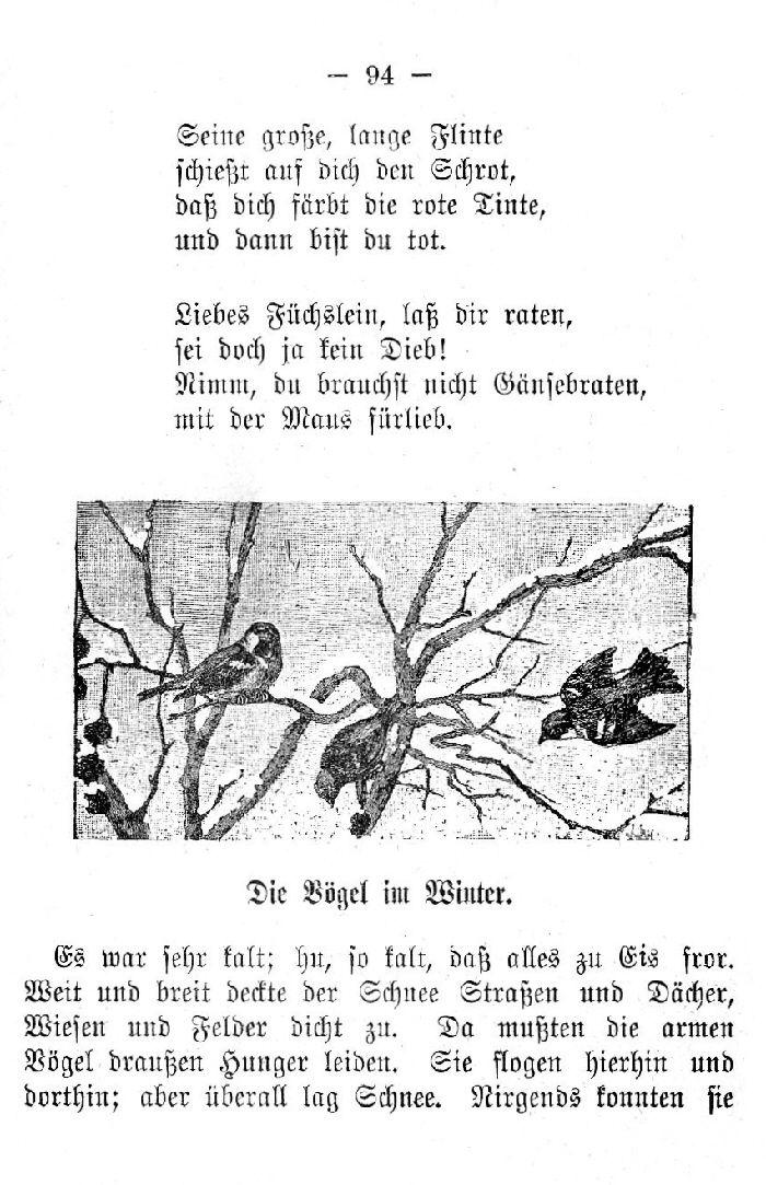 Deutsche Fibel -Die Vögel im Winter