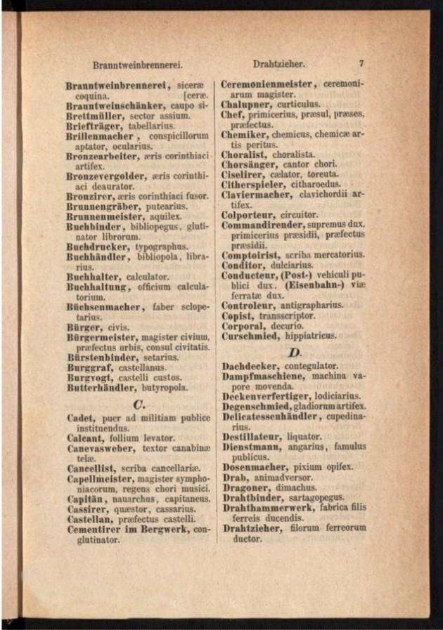 Teil 1 Deutsch - Latein / von 'Branntweinbrennerei' bis 'Drahtzieher'