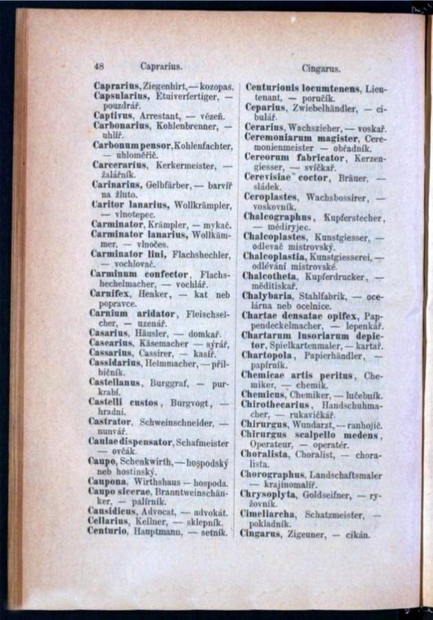Teil 3 Latein - Deutsch - Böhmisch / von 'Caprarius' bis 'Cingarus'