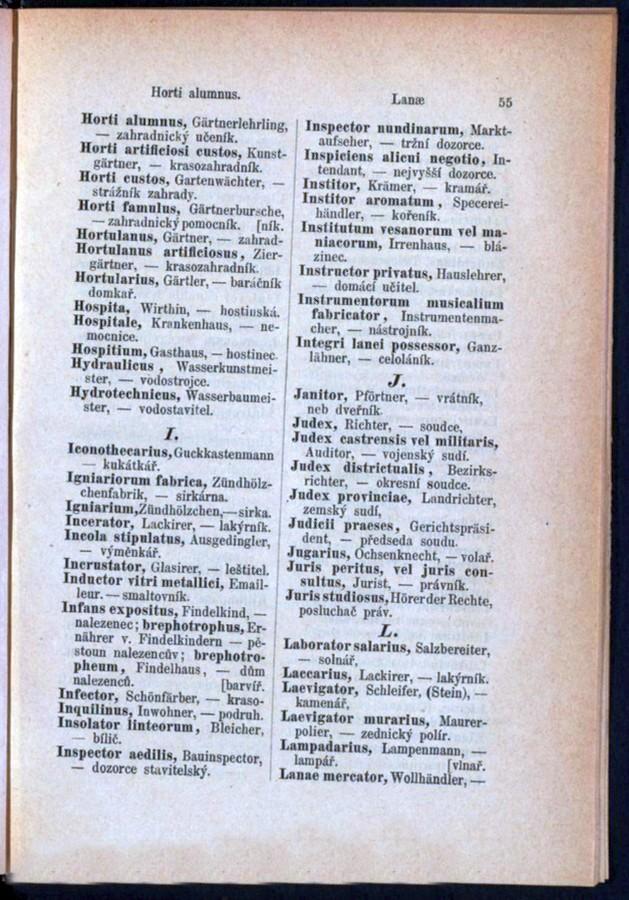 Teil 3 Latein - Deutsch - Böhmisch / von 'Horti alumnus' bis 'Lanae'