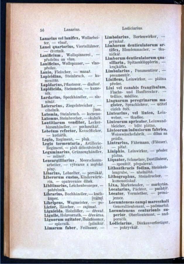 Teil 3 Latein - Deutsch - Böhmisch / von 'Lanarius' bis 'Lodiciarius'