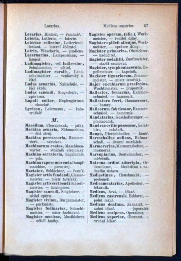 Teil 3 Latein - Deutsch - Böhmisch / von 'Lorarius' bis 'Medicus superior'