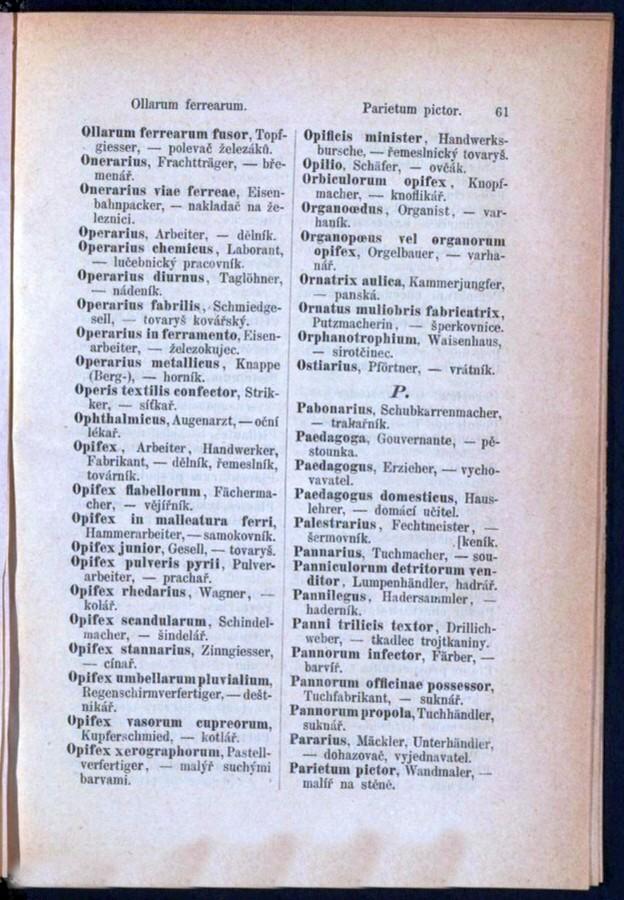 Teil 3 Latein - Deutsch - Böhmisch / von 'Ollarum ferrearum' bis 'Parietum pictor'