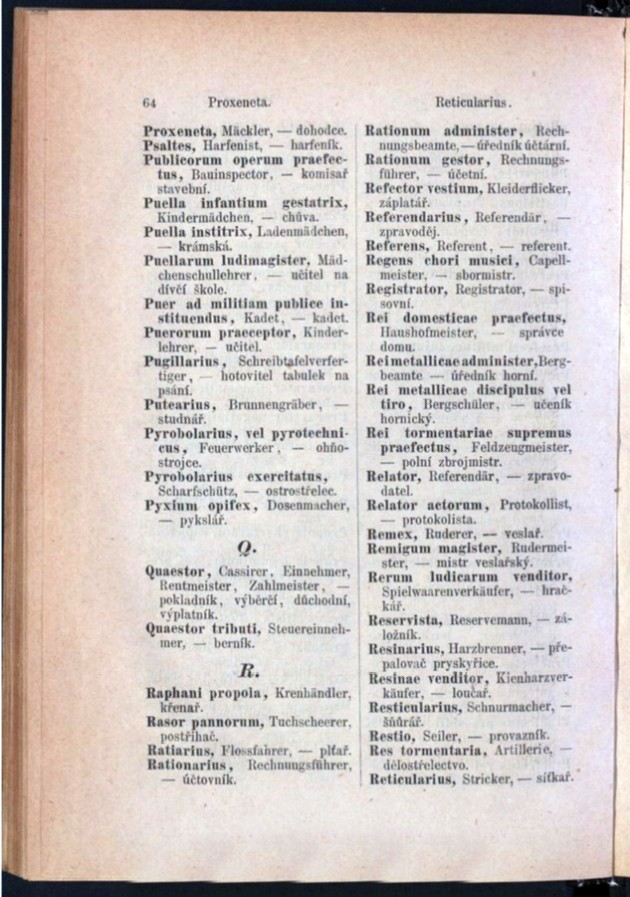 Teil 3 Latein - Deutsch - Böhmisch / von 'Proxeneta' bis 'Reticularius'