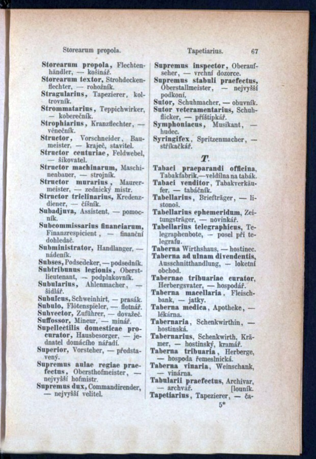 Teil 3 Latein - Deutsch - Böhmisch / von 'Storearum propola' bis 'Tapetiarius'